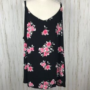 Torrid NWT Black Floral Knit Swing Cami 5X